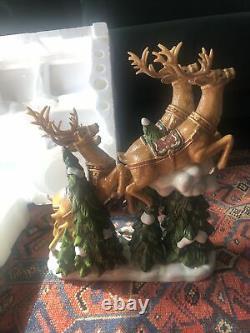 Santa Sleigh with Reindeers Porcelain Member's Mark Christmas decor reindeer