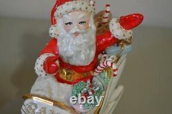 Santa Spaghetti 9 Reindeer Rudolph Sleigh Ceramic Vintage Christmas Decor MCM