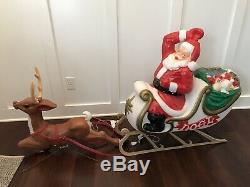 Santa With Sleigh Reindeer Lighted Blow Mold, 72 Christmas Yard Decoration NICE
