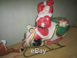 Santa With Sleigh Reindeer Lighted Blow Mold, 72 Christmas Yard Decoration RARE