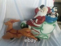 Santa With Sleigh Reindeer Lighted Blow Mold, Christmas Yard Decoration RARE