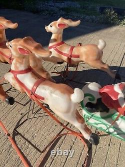 Santa in Sleigh Toy Sack Reindeer Lighted Blow Mold Christmas Yard Decoration