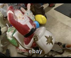 Santa in sleigh with2 reindeers blowmold