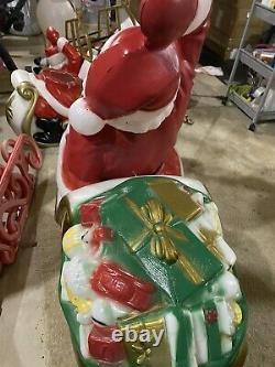 Santa sleigh and 3 reindeer blow mold