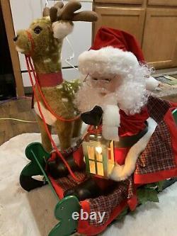 Santas Best 2 pcs ANIMATED Lighted Santa in Sleigh & Reindeer Christmas RARE