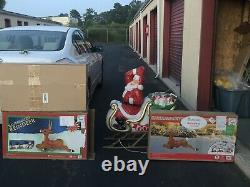 Santas Claus Sleigh With 3 Reindeers Blow Mold Set Purchased In 2019