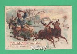 Scarce 1901 Htl Christmas Postcard Santa Claus Reindeer Sleigh Cherubs Toys Snow