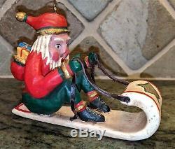 Set, 6 Rare Bill Jauquet Folk Art, Santa with Goose, Tiger, Reindeer, Sled, Zebra +