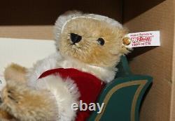 Steiff Father Santa Bear in Wood Sleigh with Reindeer EAN 670565