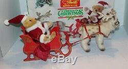Steiff Friends Of Christmas 0118.17/18 withBox Santa Bear, Reindeer & Sleigh Set