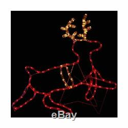 Sunnydaze Holiday Prelit Santa on Sleigh with Reindeer Silhouette LED Rope Mu