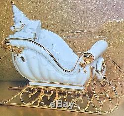 Superb Quality Boxed Vintage Gold Gilded Porcelain Santa, Sleigh & Reindeer Set