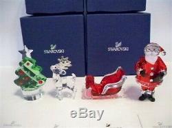 Swarovski Santa Claus Sleigh Reindeer & Christmas Tree Set Bnib