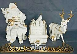 TRADITIONS White Porcelain Santa With Sleigh and Reindeer Gold colored Accents