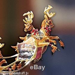 Thomas Kinkade Revolving Christmas Tree Topper Santa Sleigh Reindeer Star Light