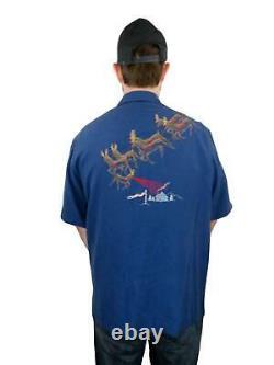Tori Richard Mens Santa Silk Hawaiian Camp Shirt Large Sleigh Reindeer Christmas