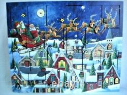 Traditions Byers Choice Wooden Advent Calendar Santa's Sleigh & Reindeer 15x18