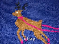 UNISEX Hand Knit Wool CHRISTMAS SWEATER Santa Sleigh Reindeer Sz XXXL 60 Chest