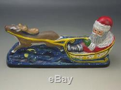VAILLANCOURT FOLK ART 10th ANNIVERSARY SANTA IN SLEIGH WITH REINDEER LE SIGNED