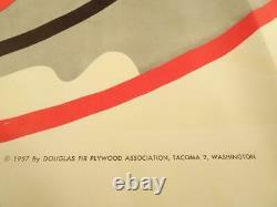 VINTAGE1950s DOUGLAS FIR CHRISTMAS DECORATIONS YARD ART SANTA SLEIGH REINDEER