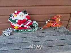VINTAGE 1970 EMPIRE Santa Sleigh and 2 Reindeer Tabletop 24 Lighted Blow Mold