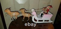 VINTAGE 50S PAPIER PAPER-MACHE SANTA & SLEIGH With REINDEER CANDY CONTAINER mica