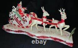VINTAGE JAPANESE STYROFOAM CHRISTMAS DECORATION SANTA IN SLEIGH WithREINDEER