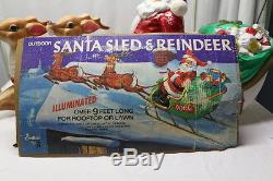 VINTAGE JUDITH SANTA 2 REINDEER SLEIGH/SLED BLOW MOLD OUTDOOR CHRISTMAS DECOR