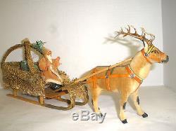 VINTAGE SANTA CLAUS FATHER CHRISTMAS SAINT NIC. REINDEER & SLEIGH GERMANY