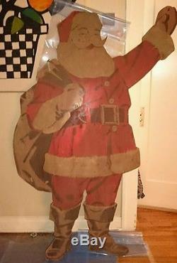 VINTAGE SET Coca Cola Advertising Life Size Santa Claus Reindeer & Sleigh 1950's