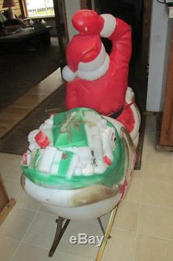 VIntage NOEL SANTA 2 REINDEER SLEIGH/SLED BLOW MOLD OUTDOOR CHRISTMAS YARD DECOR