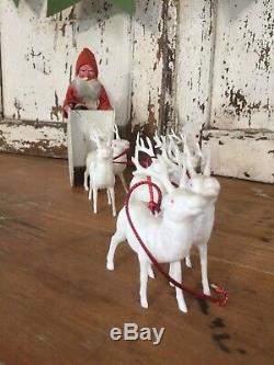 VTG 1900's Santa Claus Mica Sleigh with 6 Reindeer German Marked Composition