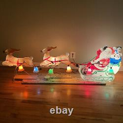 VTG 1977 Carolina Enterprises Blow Mold Santa Claus Sleigh & Reindeer With Bells