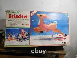 VTG 36 Empire Santa's Christmas Reindeer Deer For Sleigh Blow Mold Yard Decor