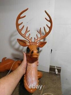 VTG 36 Poloron Santa's Christmas Reindeer Deer For Sleigh Blow Mold Yard Decor