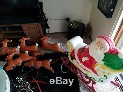VTG 70's Santa Sleigh Reindeer 35 Blow Mold with 5 Reindeer Each 24 long