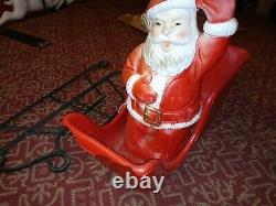 VTG BECO Blow Mold Santa Claus sled 6 White Reindeer with Antlers and Support 35