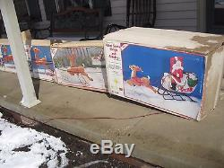 VTG EMPIRE SANTA WithSLEIGH AND 8 REINDEER PLASTIC BLOWMOLDS WithBOXES