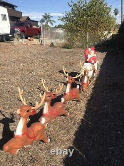 VTG GENERAL FOAM BLOW MOLD LIGHT-UP Poseable Santa, Sleigh & 4 Reindeers EXC CON