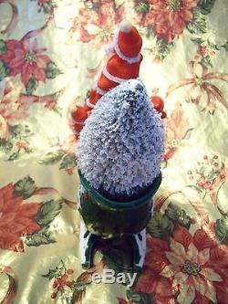 VTG Green Christmas Holly Santa Reindeer Sleigh Bottle Brush Tree Planter Figure