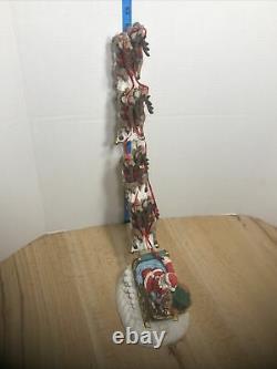 VTG Jaimy Christmas Santa Sleigh 8 Flying Reindeer Statue 19 H NOS