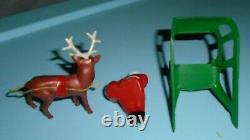 VTG LEAD RARE BARCLAY SANTA With TOY BAG ON SLEIGH WITH REINDEER B197 VNM F/S D