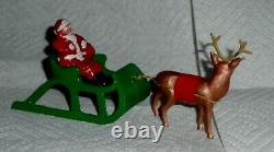 VTG LEAD RARE BARCLAY SANTA With TOY BAG ON SLEIGH With REINDEER B197 NM