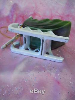 VTG Napco Christmas Santa Green Sleigh with Reindeer with Orig Stickers Figurine