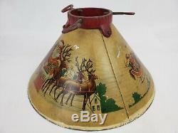 VTG Noma 1930s RARE CHRISTMAS METAL TREE STAND SANTA SLEIGH REINDEER TIN LITHO