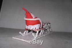 VTG Occupied Japan XMAS Felt Chenille SANTA Paper Sleigh Mica withCotton Reindeer