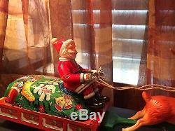 VTG Tin Toy Santa Reindeer Sleigh Battery Operated Modern Toys Rare Mechanical