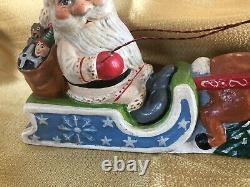 Vaillancourt Folk Art 2010 Santa with Reindeer in Sleigh #89 2010-43 RARE