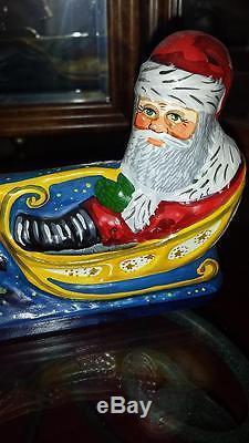 Vaillancourt Folk Art Chalkware 810 10th ANNIVERSARY SANTA IN SLEIGH with REINDEER
