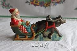 Vaillancourt Folk Art Chalkware Santa Claus In Sleigh With Reindeer #573 1997
